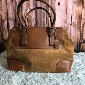 Coach tan suede handbag satchel
